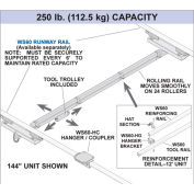 Hubbell WS60-ET06 Heavy Duty Overhead Tool Crane Kit 6ft Capacity 250 Lb