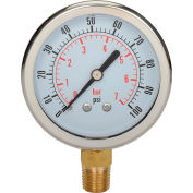 "Dynamic 2-1/2 "" Fluid Glycerine Filled Pressure Gage Stem 100 PSI"