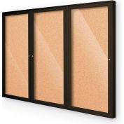 """Balt® intérieur clos - 3 portes - Cork - café aluminium Frame - tableau d'affichage 72"""" W x 36"""" H"""