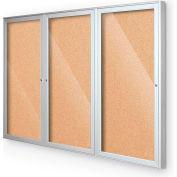"Balt® Outdoor Enclosed Bulletin Board Cabinet,3-Door 96""W x 48""H, Silver Trim, Natural Cork"