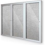 "Balt® intérieur clos babillard 3-porte d'armoire, 96"" W x 48"" H, garniture argent, platine"