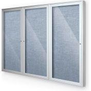 """Balt® intérieur clos babillard armoire, 3 portes 72"""" W x 48"""" H, garniture argent, bleu Pacifique"""