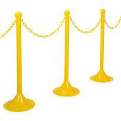 "Plastic Stanchion Kit - Yellow - 6pk 50' of 2"" Chain W/ C-Hooks Incl. - 2"" Pole, 14"" Base, 41""H"