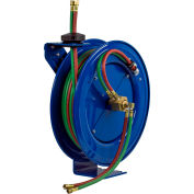 """Coxreels SHW-N-1100 1/4""""x100' 200 PSI Spring Retractable Dual Hose Welding Cable Reel"""