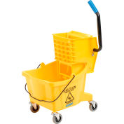 Carlisle Commercial Mop Bucket with Side-Press Wringer 26 Quart, Yellow - 3690804