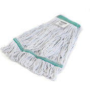 Carlisle Flo-Pac Medium Green Wide Band Looped-End Mop, Blended 4-Ply Yarn, Natural - 369419B00 - Pkg Qty 12