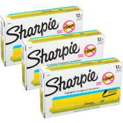 Surligneur Sharpie® Accent, bout étroit en pointe, non toxique, encre jaune fluorescent, qté par paquet : 12