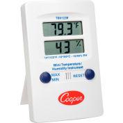 Cooper Mini Wall Thermometer, Trh122m-0-8, Digital Temperature & Humidity, Dual Display