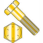 """Hex Cap Screw - 1/4-20 x 1"""" - Steel - Zinc Yellow - Gr 8 - FT - UNC - USA - Pkg of 100 - BBI 454010"""