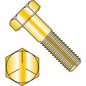 """Hex Cap Screw - 1/4-20 x 1/2"""" - Carbon Steel - Zinc Yellow CR+6 - Grade 5 - FT - UNC - 100 Pack"""