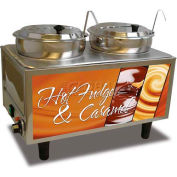 Benchmark Double Hot Fudge/Caramel Warmer W/ Ladles - 7 Quart Capacity - 51072-H
