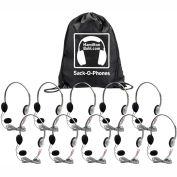 HamiltonBuhl Sack-O-Phones, 10 HA2M Personal Headsets w/ Mic, Foam Ear Cushions in a Carry Bag
