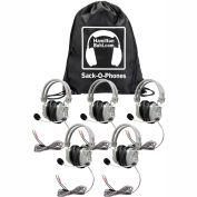 HamiltonBuhl Sack-O-Phones, 5 HA7M Deluxe Headphones w/ Mic in a Carry Bag