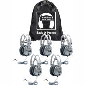HamiltonBuhl Sack-O-Phones, 5 SC7V Deluxe Headphones w/ Volume Control in a Carry Bag