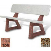 "58"" Residential Concrete Bench, Polished Red Quartzite Top, Tan River Rock Leg"