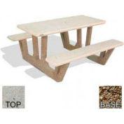 "38"" Rectangular Picnic Table, Polished Tan River Rock Top, Tan River Rock Leg"