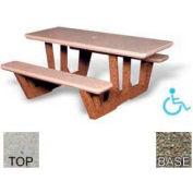 "68"" ADA Rectangular Picnic Table, Polished Tan River Rock Top, Gray Limestone Leg"