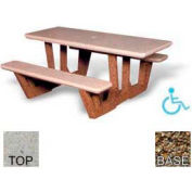 "68"" ADA Rectangular Picnic Table, Polished Tan River Rock Top, Tan River Rock Leg"