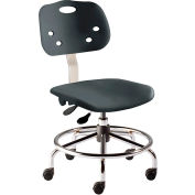 "BioFit Antimicrobial Stool, 17""-32"" Seat Height, Black Plastic - Chrome Steel - ArmorSeat Series"