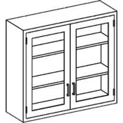 """Blickman E35LS Stainless Steel Wall Cabinet with Double Glass Doors, 2 Shelves, 35""""W x 13""""D x 30""""H"""