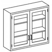"""Blickman E35HS Stainless Steel Wall Cabinet with Double Glass Doors, 3 Shelves, 35""""W x 13""""D x 48""""H"""