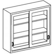 """Blickman F47LS Stainless Steel Wall Cabinet with Sliding Glass Doors, 2 Shelves, 47""""W x 13""""D x 30""""H"""