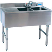 "BK Resources BKUBW-236LS,  S/S Underbar 2-Comp Sink-Left Drainboard, 36""Lx18-1/4""Wx32-1/2""H"