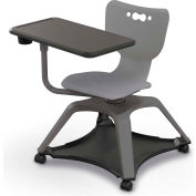 Enroll™ Hierarchy Chair w/o Arms - Includes Tablet Arm, Cup Holder, Hard Caster - Gray - Pkg Qty 6