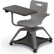 Enroll™ Hierarchy Chair w/ Arms - Includes Tablet Arm, Cup Holder, Soft Caster - Gray - Pkg Qty 6