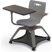 Enroll™ Hierarchy Chair w/ Arms - Includes Tablet Arm, Hard Caster - Gray - Pkg Qty 6