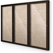 """Balt® plein air enfermé babillard Cabinet, 3 porte 96"""" W x 48"""" H, café Trim, coton"""
