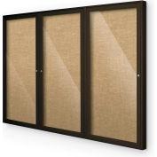 """Balt® plein air enfermé babillard armoire, 3 portes 96"""" W x 48"""" H, café Trim, naturel"""