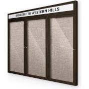 """Balt® extérieure Headline Bulletin Board armoire, 3 portes 96"""" W x 48"""" H, café Trim, gris"""
