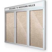 """Balt® extérieure Headline Bulletin Board armoire, 3 portes 72"""" W x 36"""" H, garniture argent, coton"""