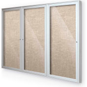 "Balt® Indoor Enclosed Bulletin Board Cabinet,3-Door 72""W x 48""H, Silver Trim, Cotton"