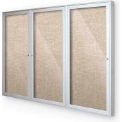 "Balt® plein air enfermé babillard 3-porte d'armoire, 72"" W x 48"" H, garniture argent, coton"