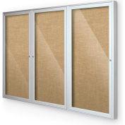 "Balt® intérieur clos Cabinet babillard, 3 porte 96"" W x 48"" H, Silver Trim, naturel"