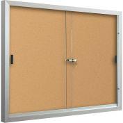 """Balt® Deluxe ci-joint Bulletin - 2 portes coulissantes - Cork - Silver armature en aluminium - 72"""" W x 48"""" H"""