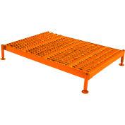 Plateforme de travail robuste à hauteur ajustable Ballymore,59 x24 po, acier, orange, hauteur de5 po à8 po