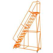 """Poignée 12 étape acier 24"""" O roulant échelle 21"""" D verrouillage de la plus haute marche pas, Orange w / Cal OSHA main courante"""