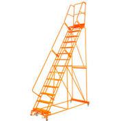 """Étape 14 acier 24"""" O roulant échelle 14 perforé"""" D haute marche verrouillage pas Orange w/Cal OSHA main courante"""