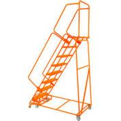 "Poignée étape 7 acier 16"" O roulant échelle 21"" étape supérieure D w / mains courantes - Orange w / Cal OSHA main courante"