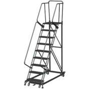 9 Etape Heavy Duty Steel Rolling sécurité échelle, Heavy Duty dentelée caillebotis w / Cal OSHA main courante