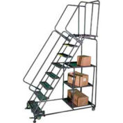 7 Step Steel Stock Picking Ladder Serrated Tread w/ Cal OSHA Handrail CAL SPL-7-G