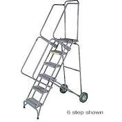 "12 Step 16""W Steel Fold & Store Rolling Ladder, Heavy Duty Serrated Grating w/ Cal OSHA Handrail"