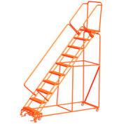 "11 étape 24 ""W sécurité acier Angle Orange roulant Ladder, dentelée Tread w / Cal OSHA main courante"