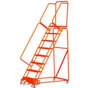Échelle roulante d'acier à9 marches avec verrou actionné par le poids, marches de 24 po larg., orange, avec main couranteCal OSHA