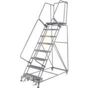 """Poignée 24"""" W 8 étapes en acier roulant échelle 21"""" haute marche D, W/Cal OSHA balustrade"""