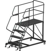 "4 Step Heavy Duty Steel Mobile Work Platform W/ Handrails - 36"" x 36"" Platform - SEP4-36-36PD"