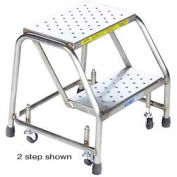 """1 Step 16""""W Stainless Steel Rolling Ladder W/O Rails - Heavy Duty Serrated Grating"""